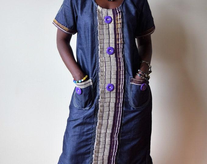 Denim Dress, Woman's Denim Country Dress, women's  Clothing,