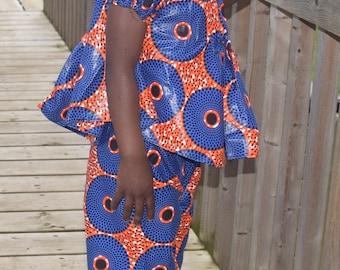 Girl's Suit, African Print Suit,Trouser & Top, Handmade Ankara Print suit.