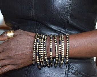 5 Rings hand woven nylon bamboo bracelets (set of 5)