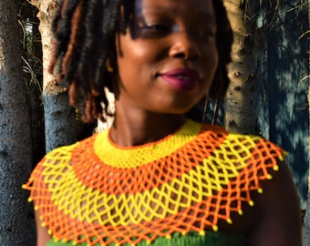African Style Necklace Tribal Necklace & Unisex Leather Bamboo Choker Design Necklace.