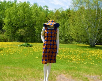 Matching Ankara Print Dresses with Hat, Summer Outfit.