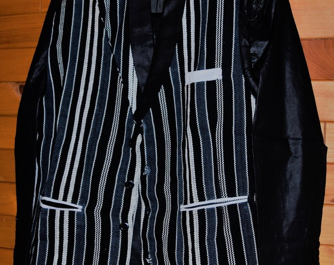 African Style Traditional Hand Woven Fabric Three Piece Men's Suit.