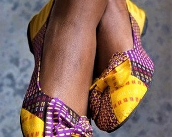 Leather Sandals & Ankara print Women's Leather Sandals.