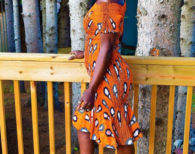 Elastic stretchy Ankara Print Dresses