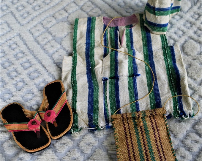 Traditional Hand Woven Country Cloth, Unisex Children's Country Clothes & Matching Hat.