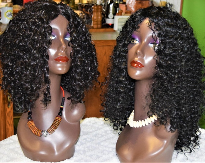 Brazilian Curly Wave Full Wig, Human Quality Beauty Wig Solution Wig.