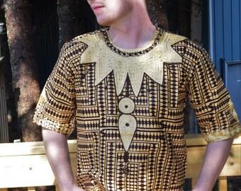 Men Shirt Embroidered Ankara Print Men Shirt 8Solution Infinity Design Dress Shirts Unisex Shirt.