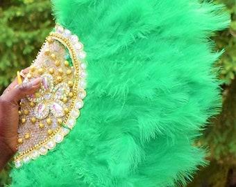Luxury Wedding Hand Fan, Africa Wedding Fan Fluffy Feather Decorative Hand Fan.