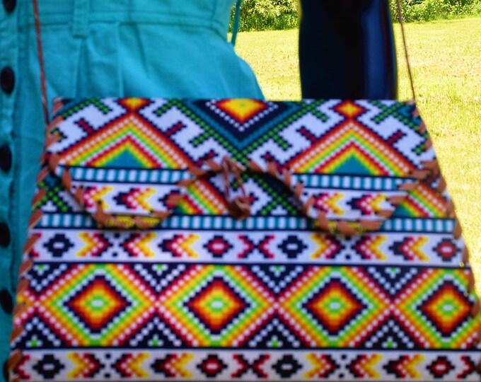 African Print Wrap Bag Leopard Print Shoulder Bag Ankara Print Women Leather Bag.