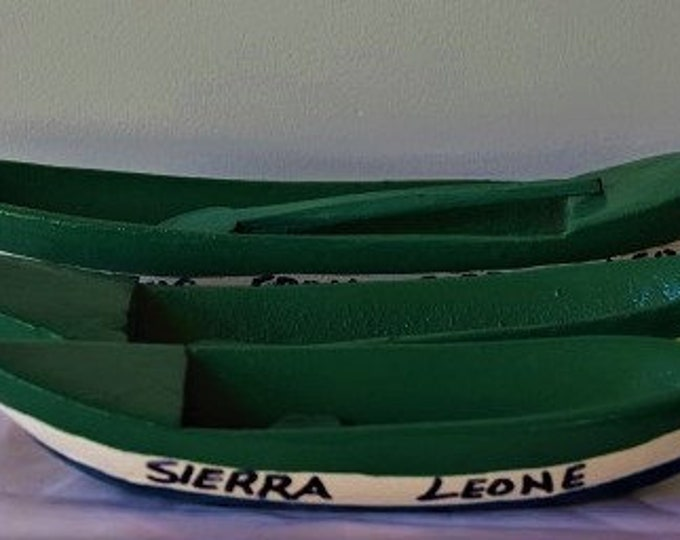 Handcrafted Traditional Boat & Ocean Shell From Sierra Leone, West Africa.
