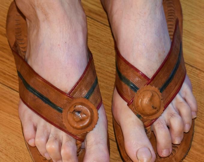 Leather Sandals Unisex Sandals & Ankara print Woman Wrap Sandals.