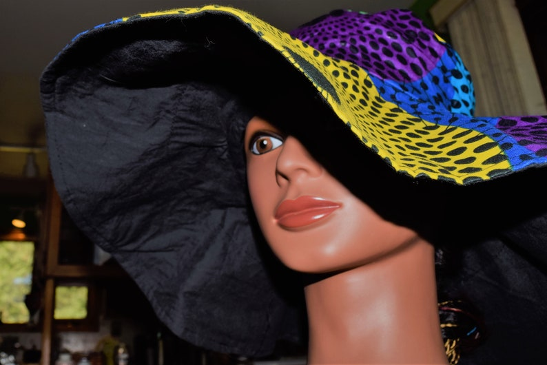 Ladies Blue Slouch Floppy Hat Festival 1960/'s 60/'s Fancy Dress