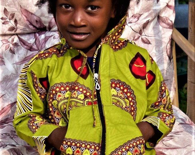 African Print Children Sportswear Unisex Print Long Sleeve Hoodie & Short Set Dashiki Print Suit.