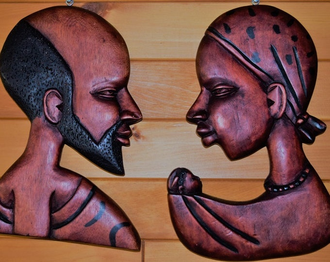 Tribal Masks Traditional Handcrafted King Queen Masks Set Mahogany Wood Family Figures Sets.