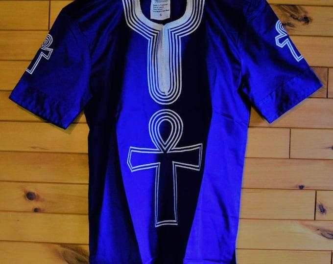 Royal Blue Embroidery Men Shirts African Man Design Dress Shirt.