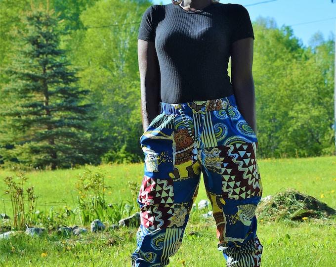 Unisex Trousers Dashiki Print Pants Women Men One Size Style Pants African Fashion.