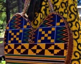 Heart Shaped Bag Ankara Print Wrapped Leather Handbag Women Handbag