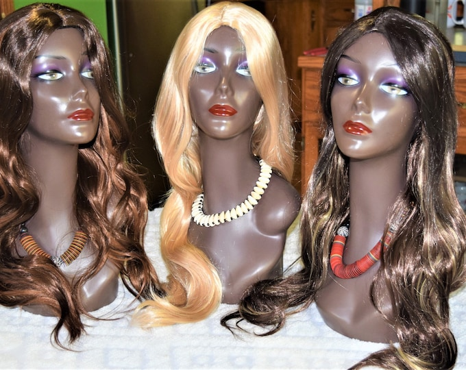 26'' Golden Brown Body Wave Human Quality Synthetic premium Wig 8Solution Beauty Wig.