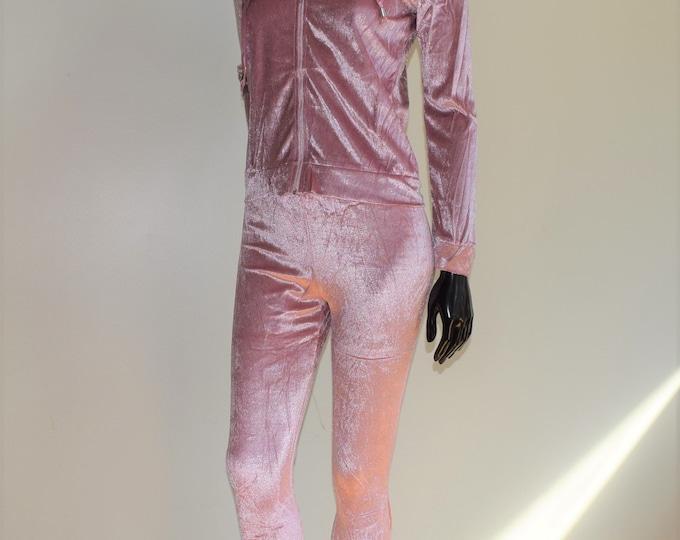 2Pcs Pink Velvet Suit Casual Velvet Hood Long sleeve Pants Fitness & Sport