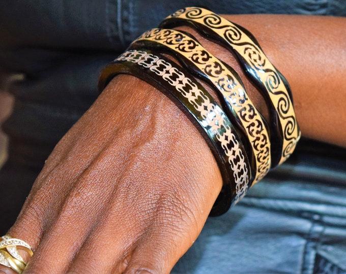 Unique Simulated Ivory tusk hand painted bracelet Design Ladies Bangles.