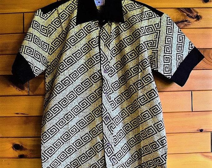 African Mix Print Men's Shirt, Men's Clothing