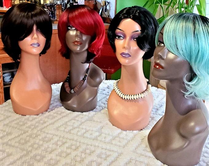 Beauty Wigs Short Bangs Classic Synthetic Wavy Cap
