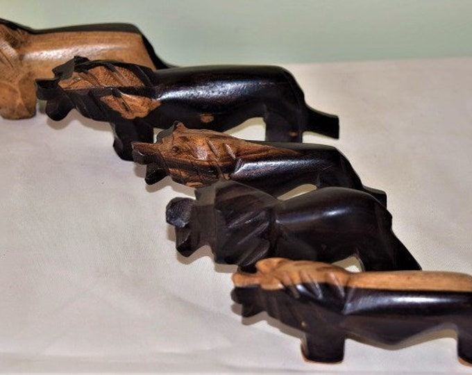 Handcrafted African Animal Family Set Lion, Rhinoceros, Hippo, & Turtle.