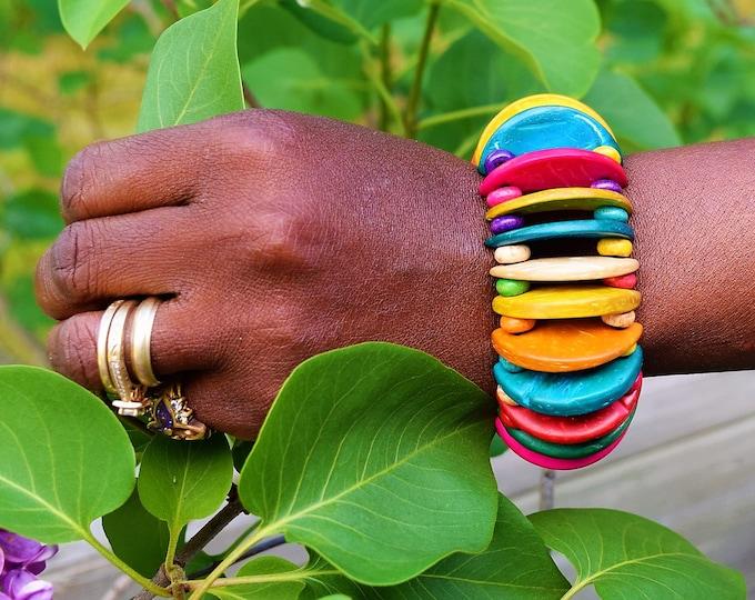 Bracelet Wooden Design multi color Bracelet Woman Bangle.
