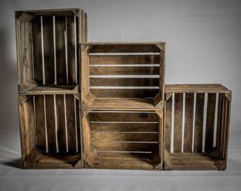 Beautiful Wooden Crates Storage Box Fruit Shabby Chic X 1