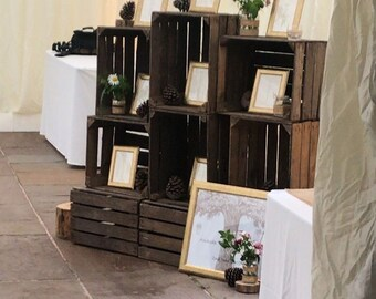 Wedding rustic display crates, shabby chic cake stands, favours, seating plan stands x 1