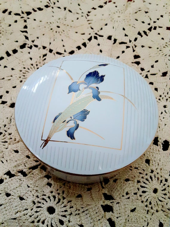 Christmas gift Her Him Otagiri Japan Grand Iris Jewelry Keepsake Storage Cyber Sale Womens Porcelain Jewelry Trinket box Free Shipping