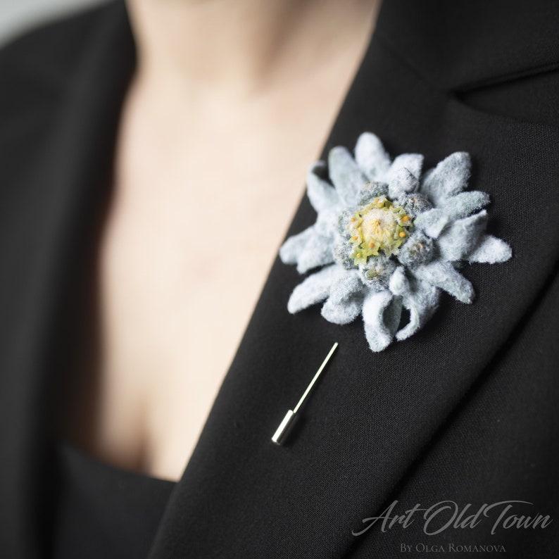 Edelweiss flower brooch Large flower brooch pin Boutonniere for men Wedding shawl brooch
