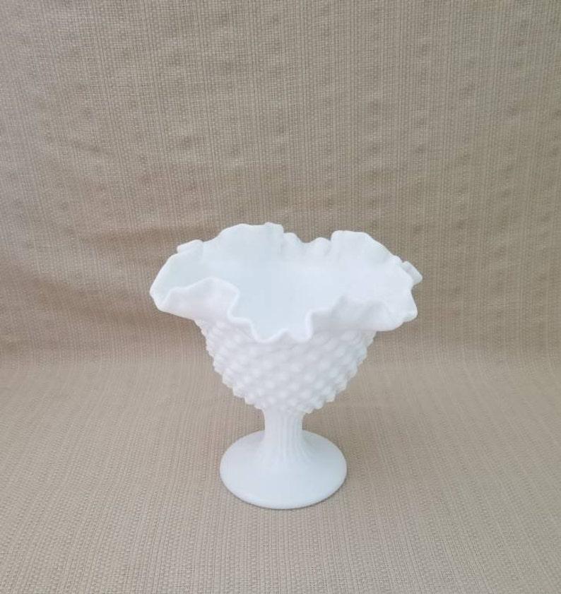 Vintage Milk Glass Hobnail Pedestal Compote Bowl Candy Nut Dish Fenton Pottery & Glass