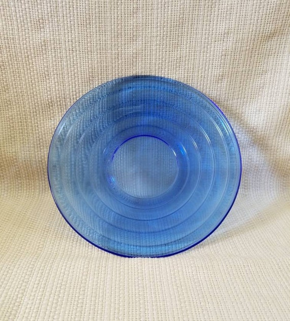 Hazel Atlas Saucer Plate Moderntone Pattern Cobalt Blue Depression Glass Vintage Transparent Dinnerware Set