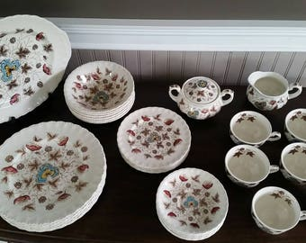 Ironstone Dinnerware Set Brown Transferware WH Grindley Old Chelsea Stoneware Rustic Primitive Farmhouse Dinner Set Old Dish Set & Vintage Footstool Wood Foot Stool Wooden Foot Rest Rustic