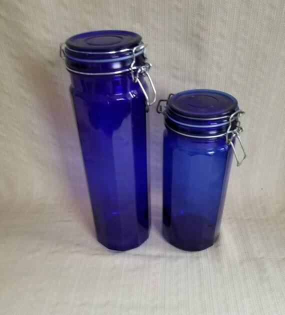 Cobalt Blue Glass Storage Container Set, 2 Piece Kitchen Canister Set, Blue  Kitchen Decor, Vintage Kitchen Countertop Storage