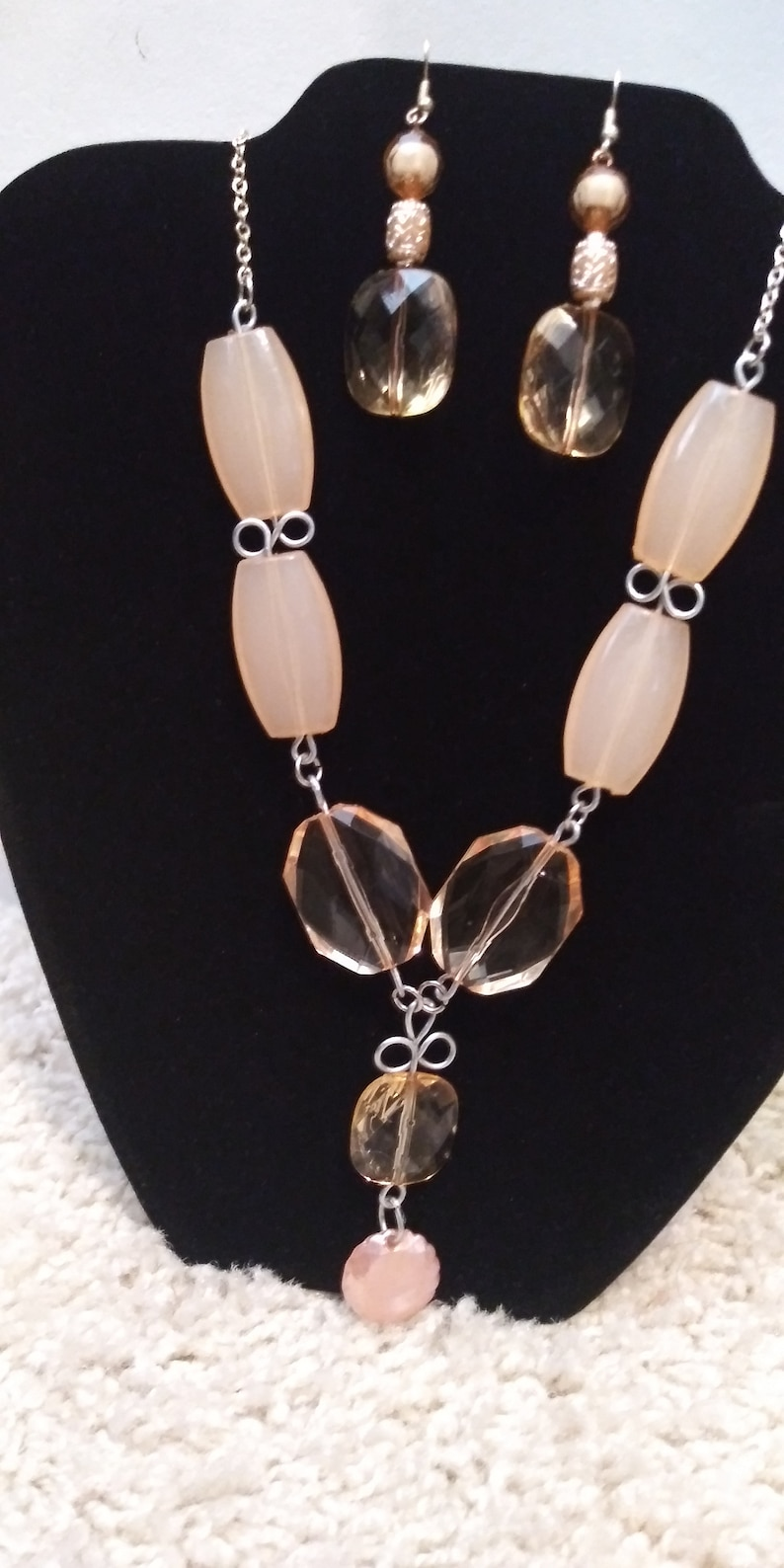Necklace set Large Peach Beaded Cascading Necklace and Earring Set Clear Peach Beads