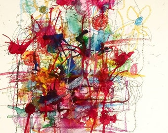 ORIGINAL FRAMED PAINTING - watercolor & pastel - 11 in. x 15 in.
