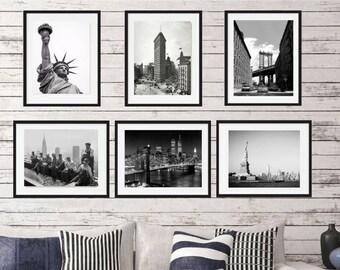 New York Print, New York,  Set of 6, New York poster,  Framed art, Wall Art, New York skyline, wall print set, city art photography