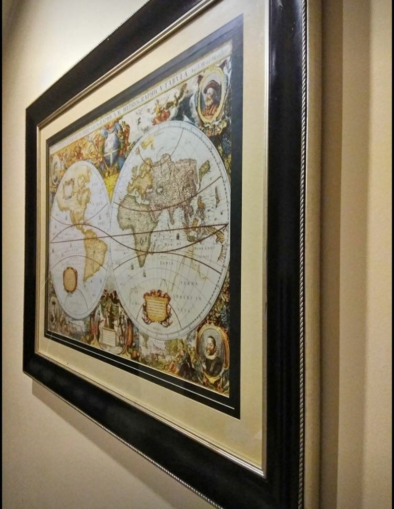 Map Vintage World Map Framed Map Orbis Terrarum Double Etsy