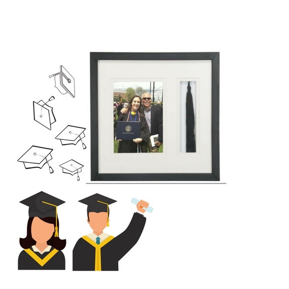 Graduation Picture Frame Graduation Tassel Holder Black Etsy