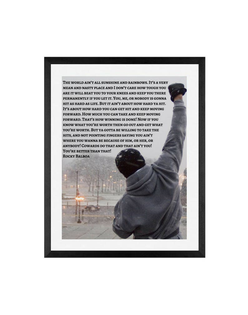 Rocky Balboa Movie Poster Inspirational Quote Rocky Balboa Poster Movie Poster Framed Wall Art Poster Rocky Boxing Speech