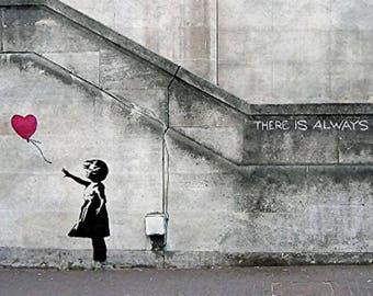 Balloon Girl, Banksy, Girl Power, Art Prints, Graffiti art print -Girl with balloon, street art, graffiti art, Wall Art , HomeDecor