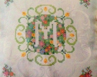 Creative Circle Springtime Initial Cross Stitch Pillow Kit Monogram