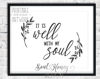 Downloadable Prints | It Is Well With My Soul | Hymn Wall Art | Christian Printable Quote | Instant Art