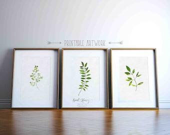 Set of 3 Botanical Prints | Leaves Wall Art Decor | Printable Quotes | Downloadable Prints
