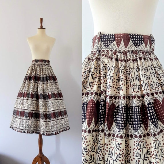 1950s Vintage Boho Cotton Skirt