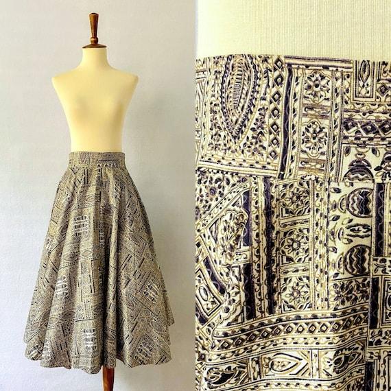 1950s Vintage Flared Boho Print Skirt / 1950s Flar