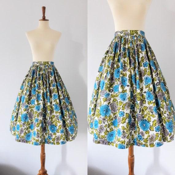 1950s Vintage Blue Rose Print Skirt