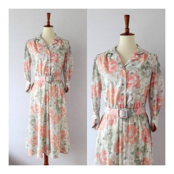1980s Vintage Dusty Rose Print Day Dress